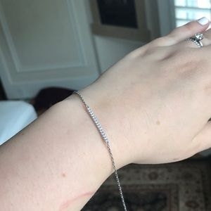 Jewelry - Delicate silver bar bracelet with diamond studs